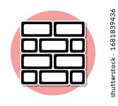 brick wall sticker icon. simple ...