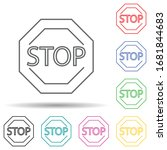 stop sign multi color set icon. ...