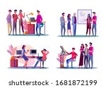 corporate meeting illustration... | Shutterstock . vector #1681872199