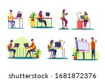 professional at workplaces set. ... | Shutterstock . vector #1681872376