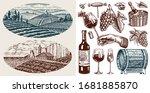Vineyard And Wine Set....
