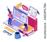 online education or distance...   Shutterstock .eps vector #1681891786