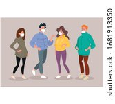 family wearing protective... | Shutterstock .eps vector #1681913350