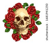 Skull With Roses Hand Drawn...