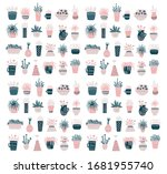 multicolored painted plants on... | Shutterstock . vector #1681955740