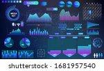 blue violet vector hud set in...   Shutterstock .eps vector #1681957540