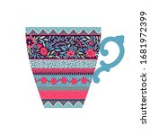 illustration with a tea cup....   Shutterstock .eps vector #1681972399