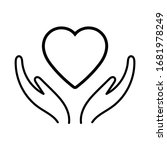 hands holding heart icon.... | Shutterstock .eps vector #1681978249