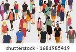 crowd of people in virus... | Shutterstock .eps vector #1681985419