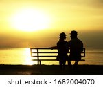 Silhouette Of A Happy Loving...