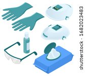 isometric set of disposable... | Shutterstock .eps vector #1682023483