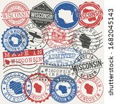 wisconsin  usa set of stamps.... | Shutterstock .eps vector #1682045143