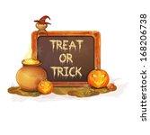 happy halloween message design  ... | Shutterstock .eps vector #168206738