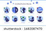 coronavirus set of advice guide ... | Shutterstock .eps vector #1682087470