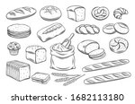 bread outline icons. drawing... | Shutterstock .eps vector #1682113180