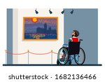disabled man in wheelchair... | Shutterstock .eps vector #1682136466