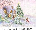 Christmas House With Snowman I...