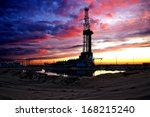 black silhouette oil rig on... | Shutterstock . vector #168215240