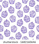 Outlined Cupcakes On White...