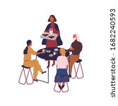 group of cartoon people eating...   Shutterstock .eps vector #1682240593