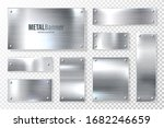 realistic shiny metal banners...   Shutterstock .eps vector #1682246659
