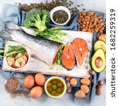 Small photo of Omega-3 fatty acid rich foods. Products high in healthy fats, vitamin, mineral, antioxidants Top view