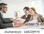 real estate agent shows a build ... | Shutterstock . vector #168228974