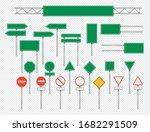 realistic road sign set  vector ... | Shutterstock .eps vector #1682291509