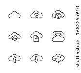 set of cloud vector line icon....   Shutterstock .eps vector #1682295910