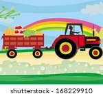 man driving a tractor with a... | Shutterstock .eps vector #168229910