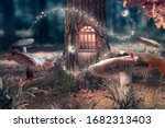 Small photo of Fantasy enchanted fairy tale forest with giant mushrooms, magical elf or gnome house with shining window in pine tree hollow and flying fairytale magic butterflies leaving path with luminous sparkles