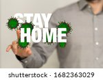 stay home digital stay safe 3d  | Shutterstock . vector #1682363029