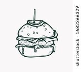 burger isolated hand drawn... | Shutterstock .eps vector #1682366329