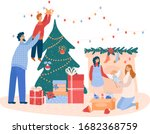 family decorates a christmas... | Shutterstock .eps vector #1682368759