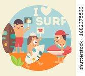 i love surfing concept poster.... | Shutterstock . vector #1682375533