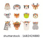 big set with cute funny animals ... | Shutterstock .eps vector #1682424880