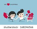 couple enjoy shopping  vector | Shutterstock .eps vector #168246566