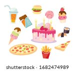 fast food set. meals isolated... | Shutterstock .eps vector #1682474989