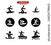 Surfing Icon Or Logo Isolated...