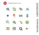 16 search flat icons set... | Shutterstock .eps vector #1682530423