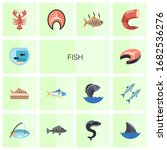 14 fish flat icons set isolated ... | Shutterstock .eps vector #1682536276