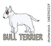 cute cartoon bull terrier dog...   Shutterstock .eps vector #1682542219