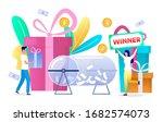 happy woman winning prize draw... | Shutterstock .eps vector #1682574073