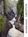 Canyons and waterfalls of ste anne de beaupre quebec stock photo