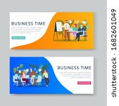business meeting and...   Shutterstock .eps vector #1682601049