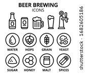beer brewing icon set. beer... | Shutterstock .eps vector #1682605186