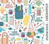 zero waste seamless background. ... | Shutterstock .eps vector #1682644519
