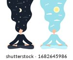 Day And Night. Girl In Yoga...