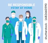 stay at home awareness social... | Shutterstock .eps vector #1682660590