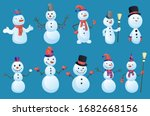 Set Of Snowmans In Different...
